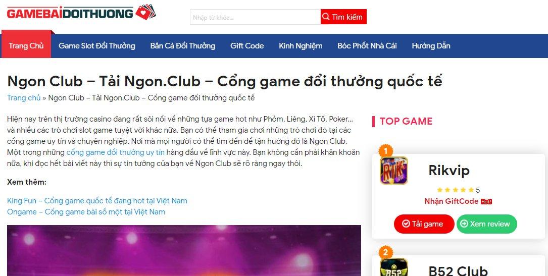 Cổng game Ngon club